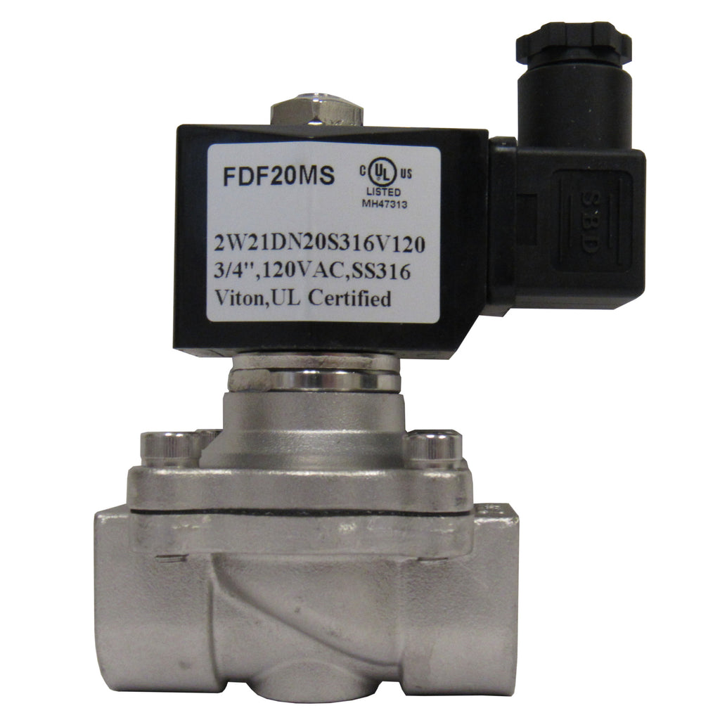 Solenoid Valve, 3/4 Inch NPT, 316 Stainless Steel, 120 VAC Coil, Viton Seal