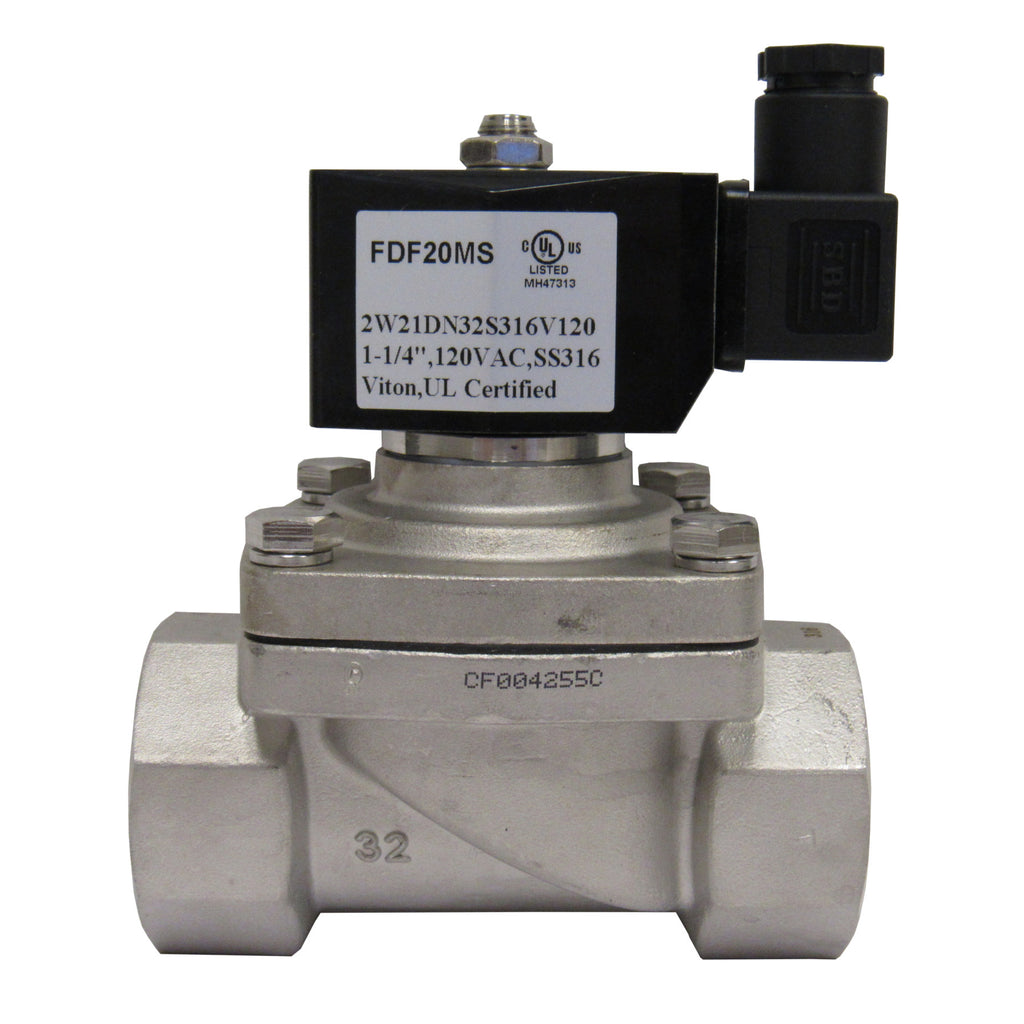 Solenoid Valve, 1-1/4 Inch NPT, 316 Stainless Steel, 120 VAC Coil, Viton Seal