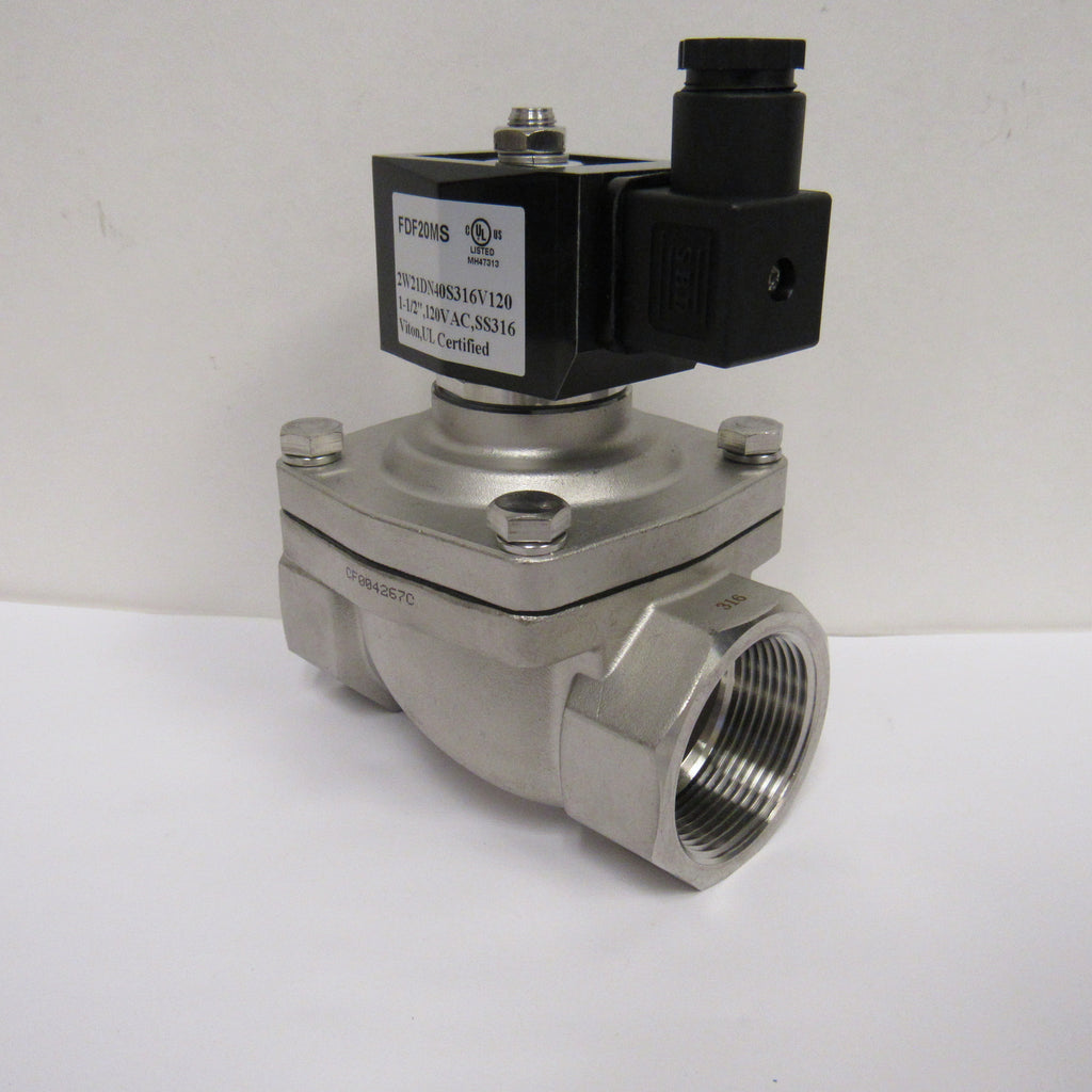 Solenoid Valve, 1-1/2 Inch NPT, 316 Stainless Steel, 120 VAC Coil, Viton Seal