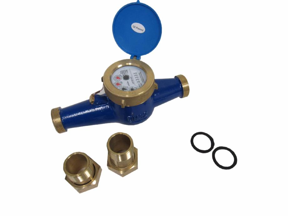 PRM 1-1/4 Inch Multi-Jet Brass Totalizing Water Meter