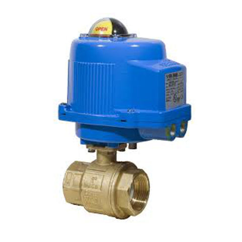 Bonomi M8E064-01 NPT Brass Ball Valve with Metal Electric Actuator, 24V with Battery Backup