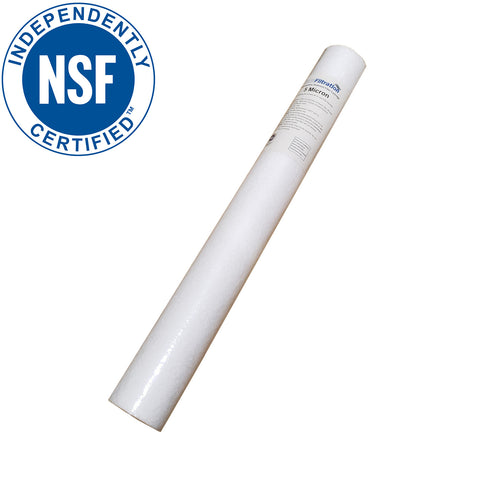 PRM Filtration PA201 Spun Polypropylene Sediment Filter Cartridges, 20 Inch x 2.5 Inch, NSF Certified - 1 Micron