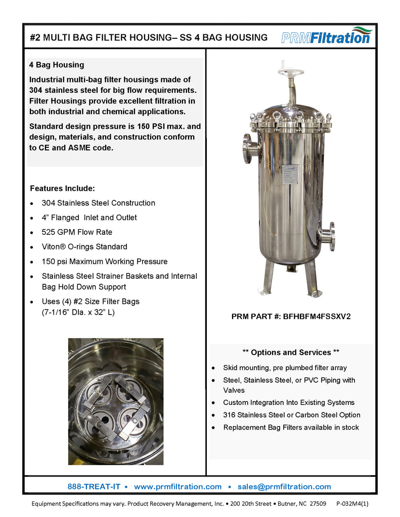 PRM #2 Stainless Steel 4 Bag Multi-Filter Housing, 4 Inch Flange In/Out-150 psi