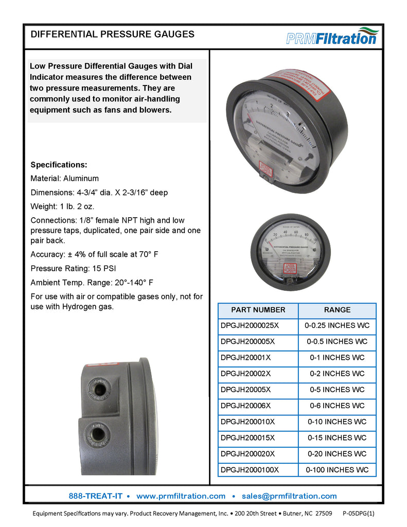 Differential Pressure Gauge, 0-15 Inches of Water