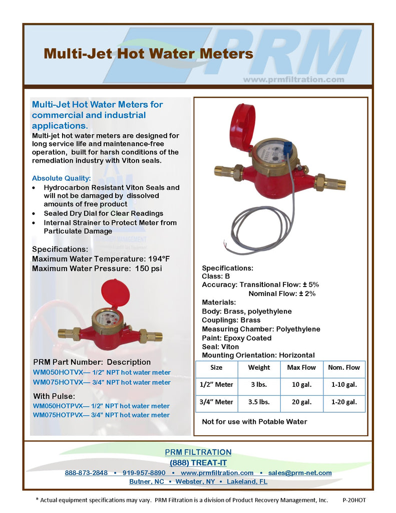 PRM 1/2 Inch Multi-Jet Brass Totalizing Hot Water Meter with Pulse Output