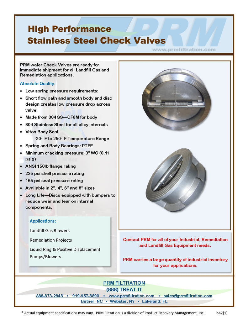 Dual Plate Wafer Style Check Valve - 316 SS - Buna Seat - 2 Inch