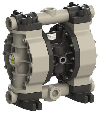 "Fluimac Phoenix P160 Air Operated Double Diaphragm Pump - PP Body - 1"" FNPT - 45 GPM - PTFE Seals"