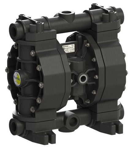 "Fluimac Phoenix P160 Air Operated Double Diaphragm Pump - PVDF+CF Body - 1"" FNPT - 45 GPM - Viton Seals"