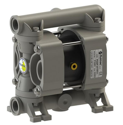 "Fluimac Phoenix P18 Air Operated Double Diaphragm Pump - PP Body - 3/8"" FNPT - 5.2 GPM - PTFE Seals"