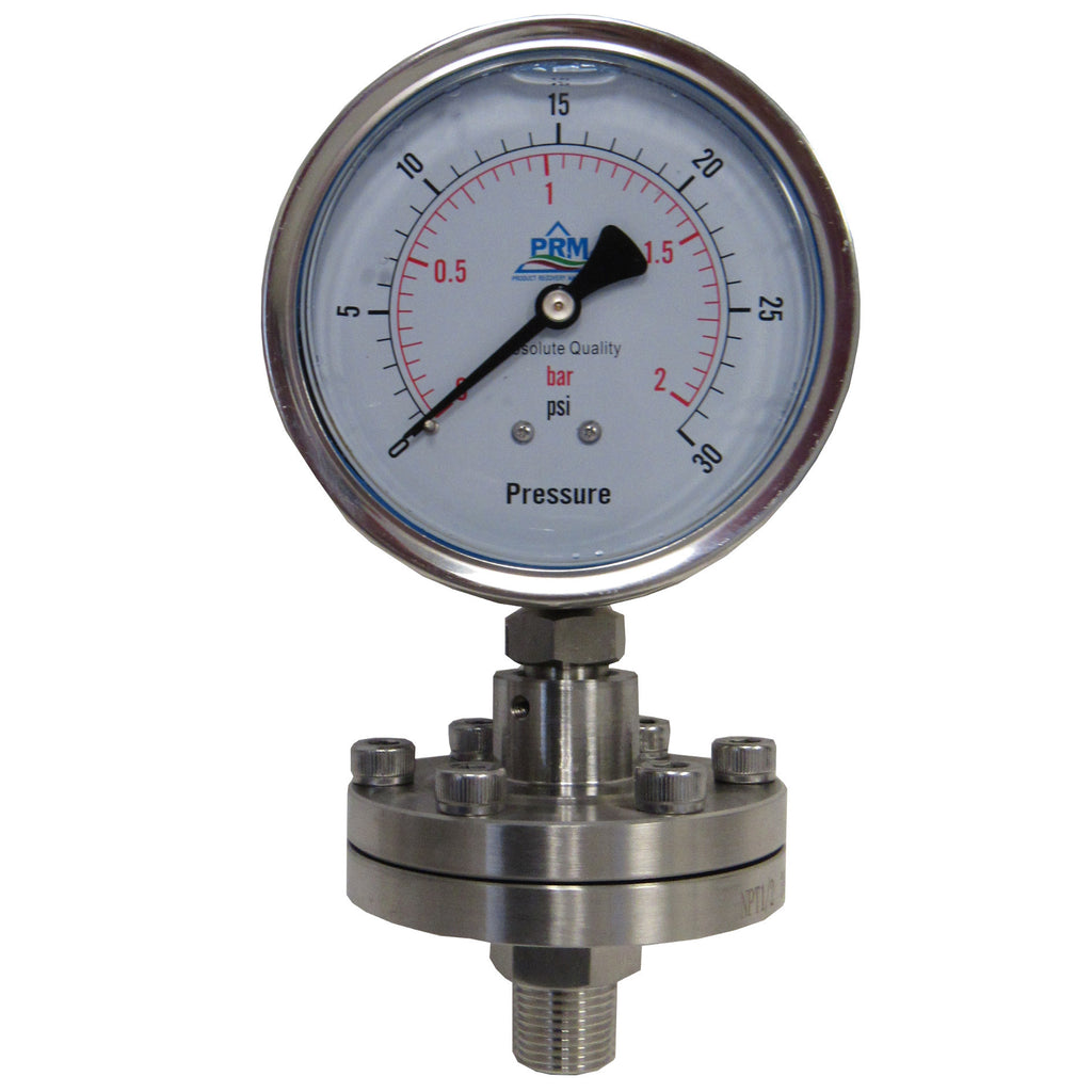 PRM Pressure Gauge, 0-30 PSI - 4 Inch Stainless Steel Case, Internals, and Diaphragm Protector, 1/2 Inch NPT Bottom Mount