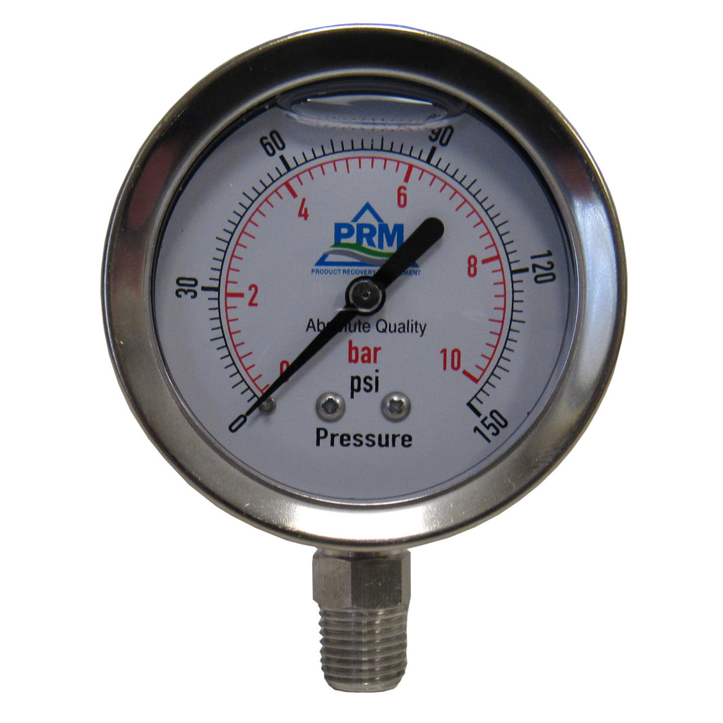 PRM 304 Stainless Steel Pressure Gauge with Stainless Steel Internals, 0-150 PSI, 2-1/2 Inch Dial, 1/4 Inch NPT Bottom Mount