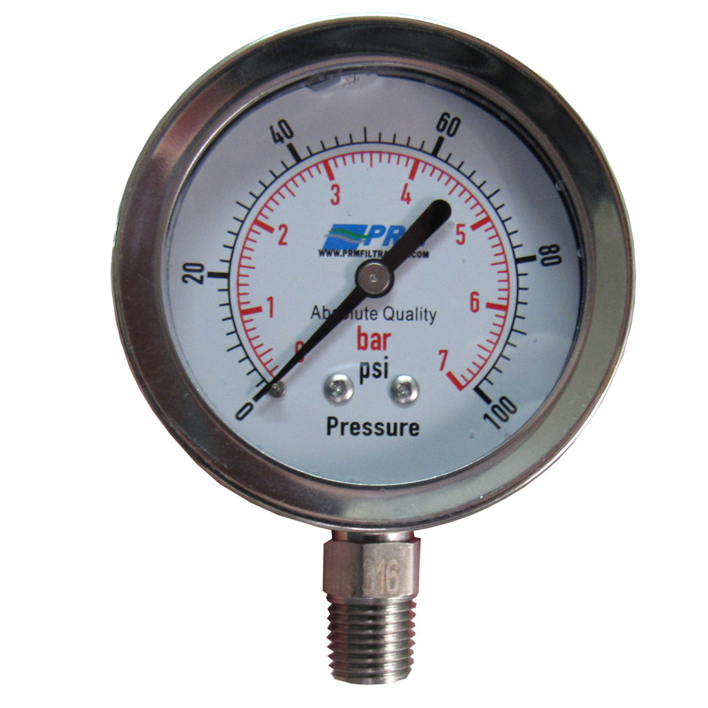 PRM 304 Stainless Steel Pressure Gauge with Stainless Steel Internals, 0-100 PSI, 2-1/2 Inch Dial, 1/4 Inch NPT Bottom Mount