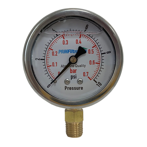 PRM Pressure Gauge, 0-10 PSI - 2.5 Inch Stainless Steel Case, Brass Internals 1/4 Inch NPT Bottom Mount