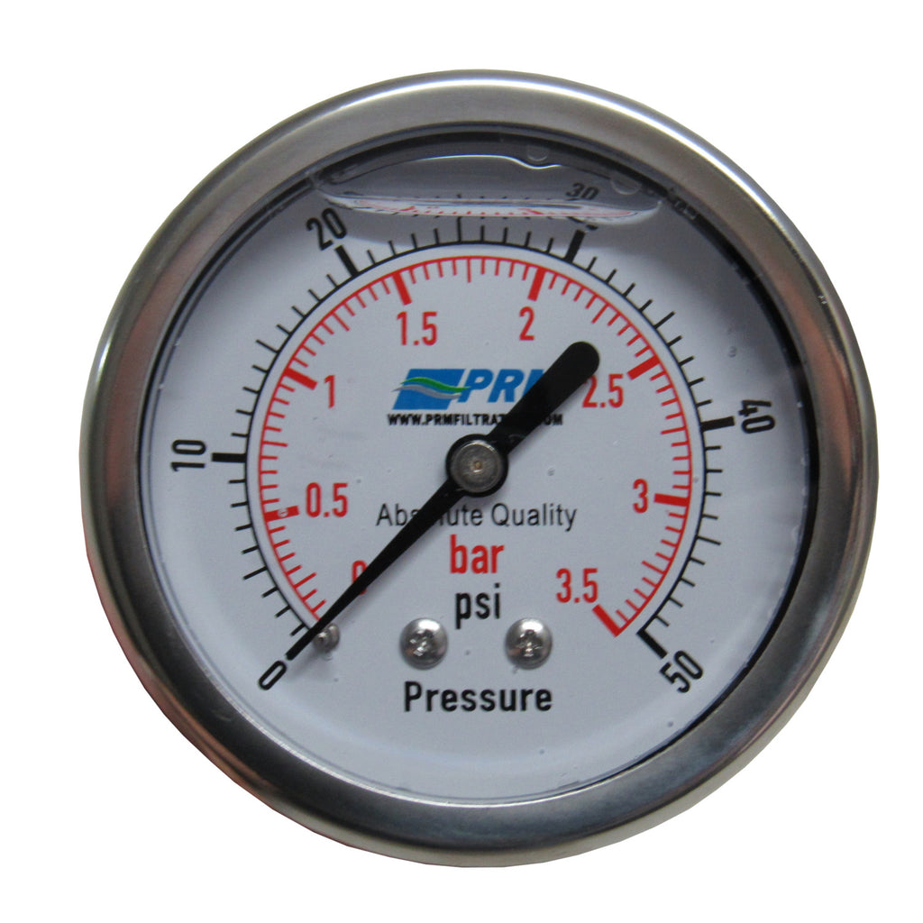 PRM 304 Stainless Steel Pressure Gauge with Brass Internals, 0-50 PSI, 2-1/2 Inch Dial, 1/4 inch NPT Back Mount