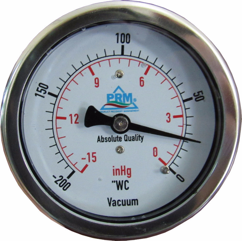 "PRM Vacuum Gauge 0 to -200""WC / 0 to -15 inHg, 2.5 Inch Stainless Steel Case, Brass Internals 1/4 Inch NPT Back Mount, Liquid Filled"