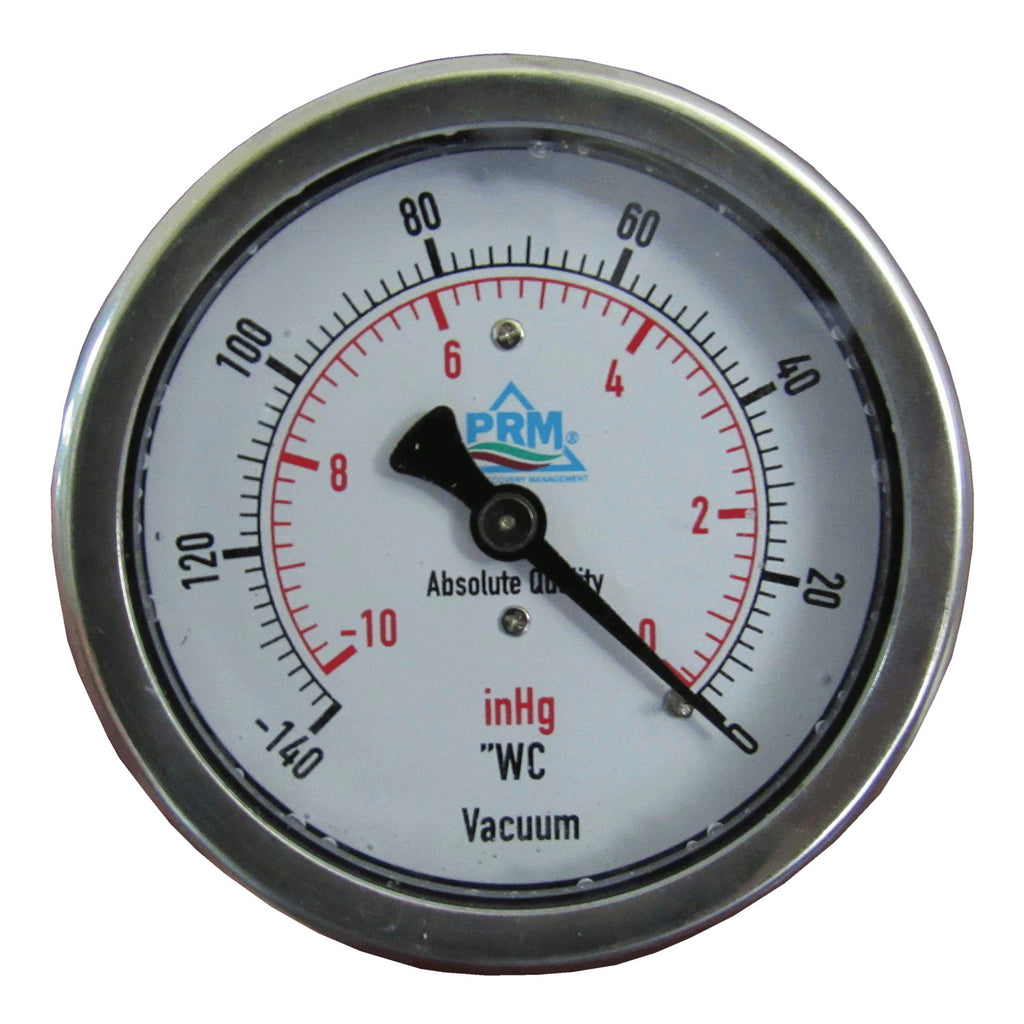 "PRM Vacuum Gauge 0 to -10 inHg / 0 to -140""WC, 2.5 Inch Stainless Steel Case, Brass Internals 1/4 Inch NPT Back Mount, Liquid Filled"