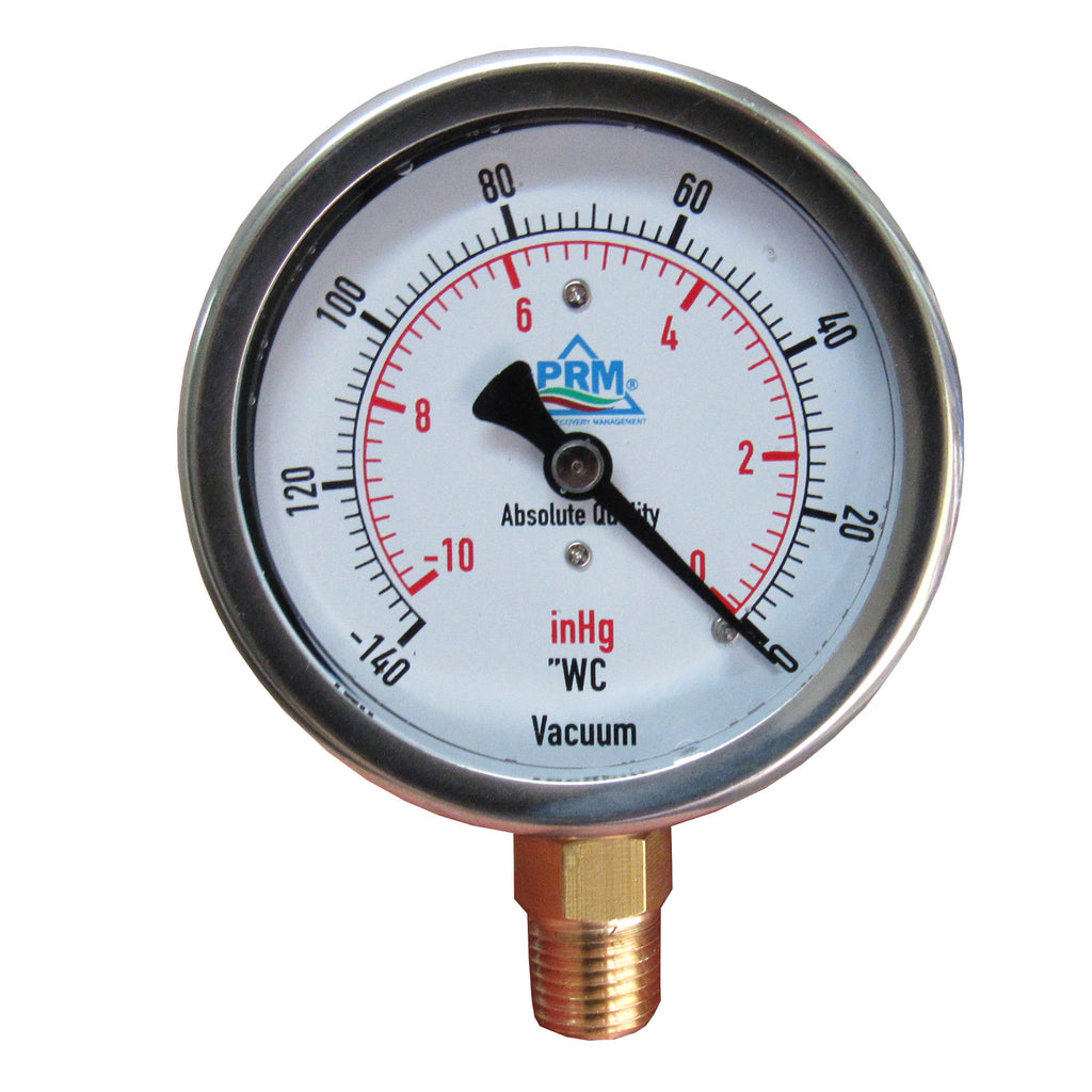 "PRM Vacuum Gauge 0 to -10 inHg / 0 to -140""WC, 2.5 Inch Stainless Steel Case, Brass Internals 1/4 Inch NPT Bottom Mount, Liquid Filled"