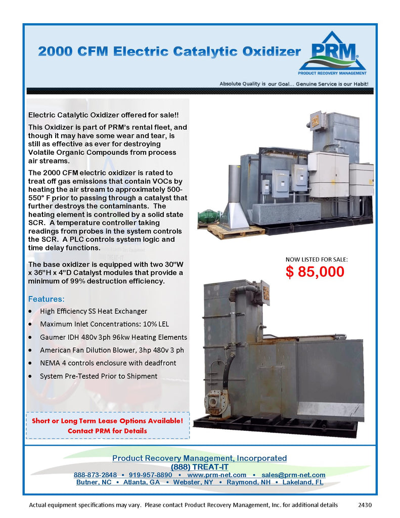 RT-2430 2000 CFM ELECTRIC CATALYTIC OXIDIZER