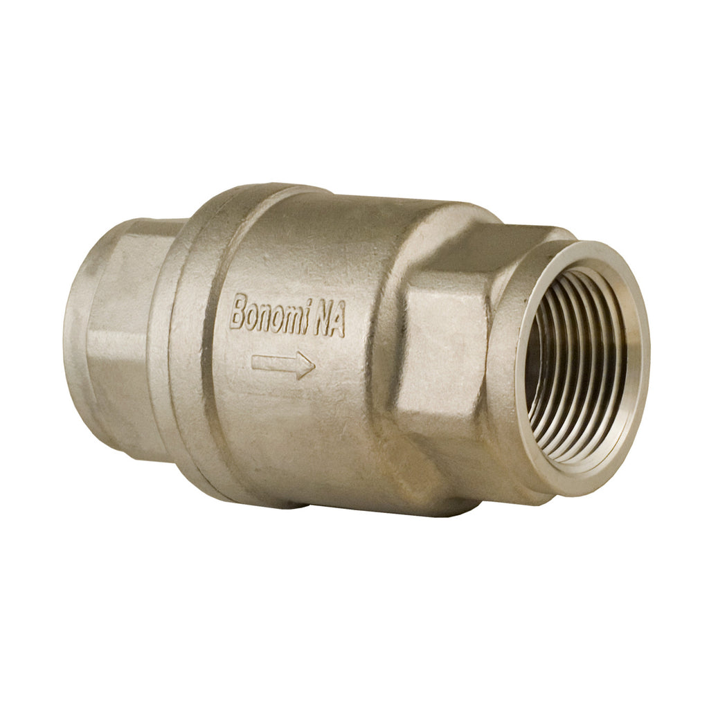 Bonomi S800 1/4 Inch NPT Stainless Steel Check Valve, 2 Pack - 800 WOG, 125 WSP