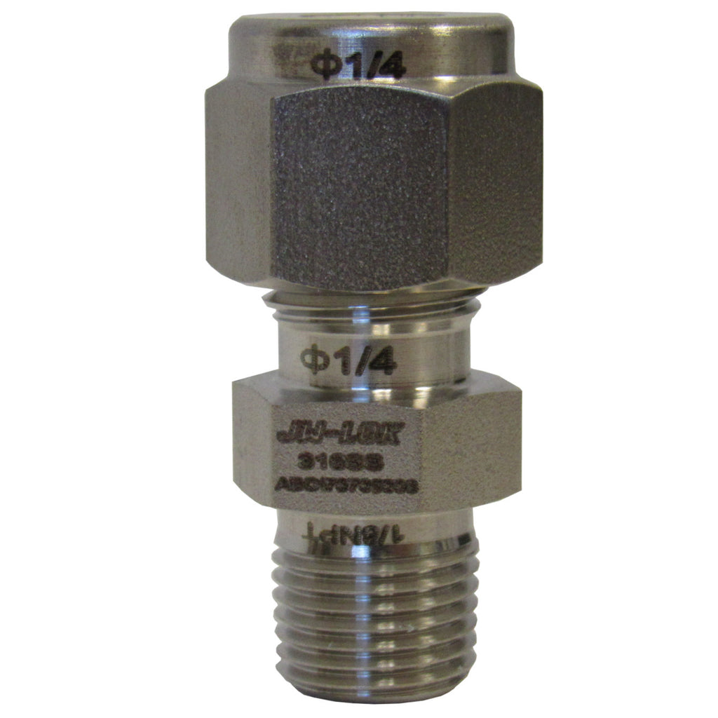 316 SS Compression Fitting, 1/4 Inch Tube X 1/8 Inch NPT Reducing Connector