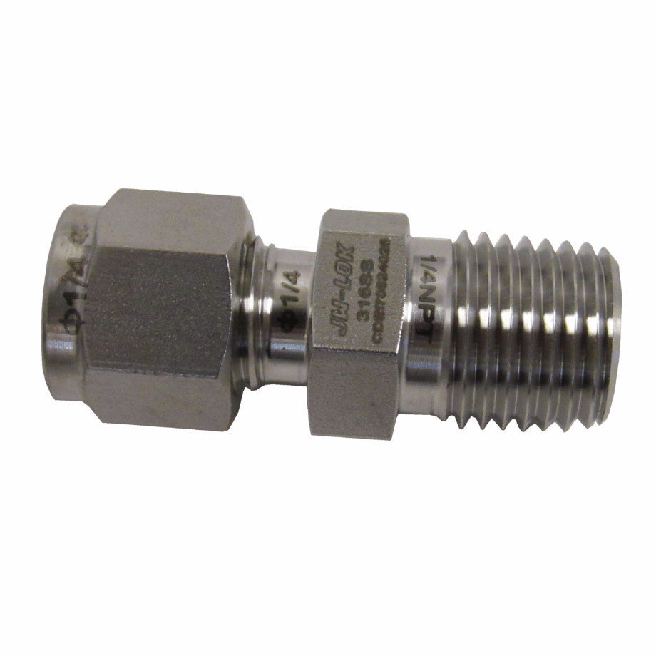 COMPRESSION FITTINGS - 316 STAINLESS STEEL MALE CONNECTOR - 1/4 INCH TUBE X 1/4 INCH MNPT