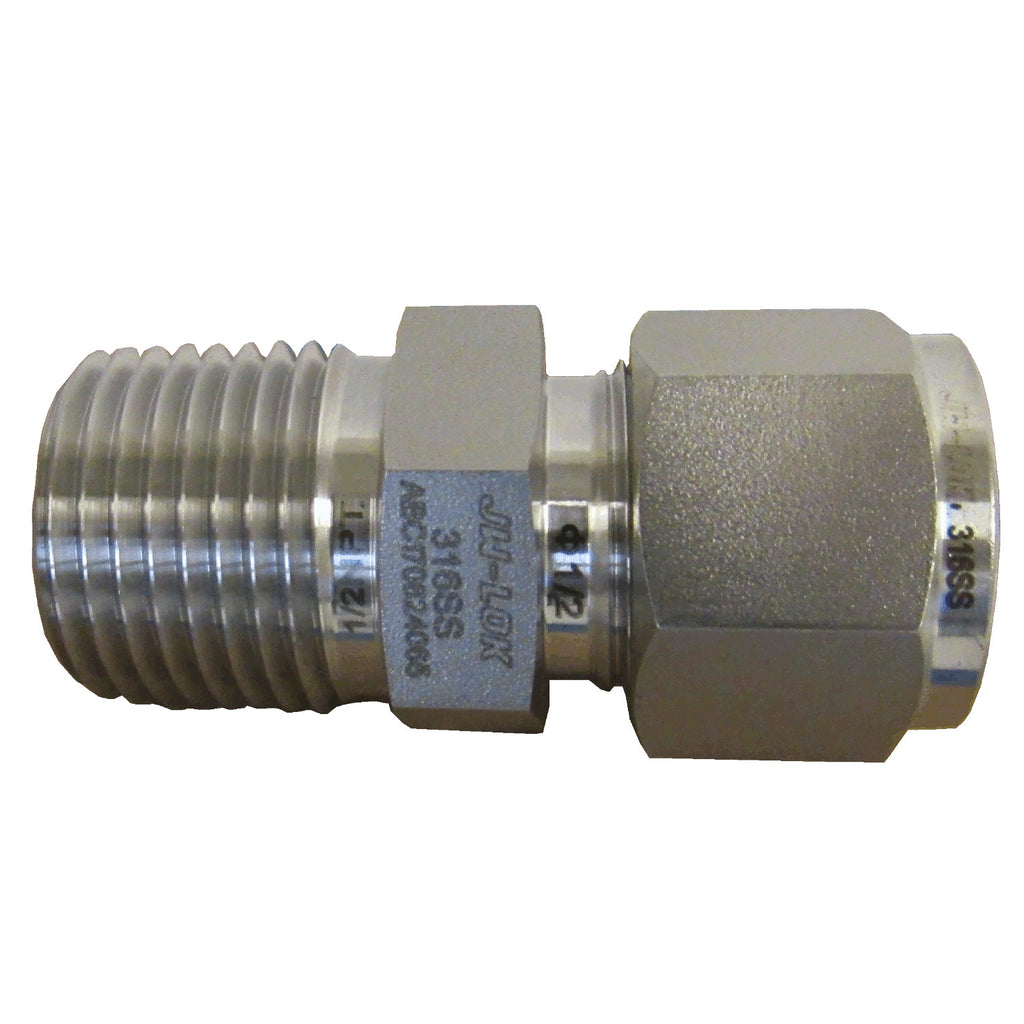 316 SS Compression Fitting, 1/2 Inch Tube X 1/2 Inch NPT Male Connector