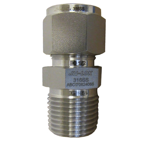 COMPRESSION FITTINGS - 316 STAINLESS STEEL MALE CONNECTOR - 1/2 INCH TUBE X 1/2 INCH MNPT