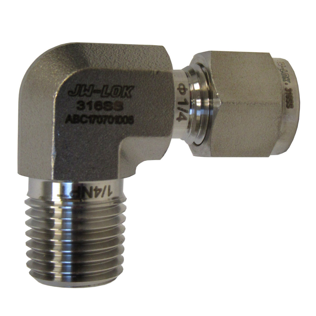 316 SS Compression Fitting, 1/4 Inch Tube X 1/4 Inch MNPT 90 Degree Elbow