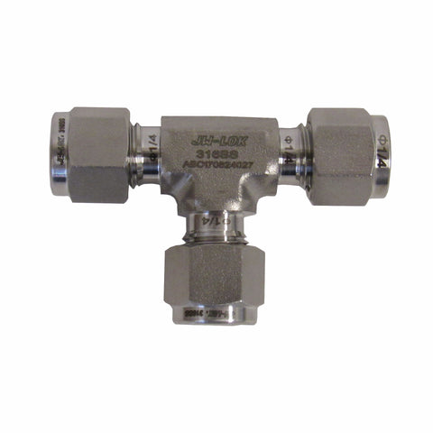 COMPRESSION FITTINGS - 316 STAINLESS STEEL UNION TEE - 1/4 INCH TUBE