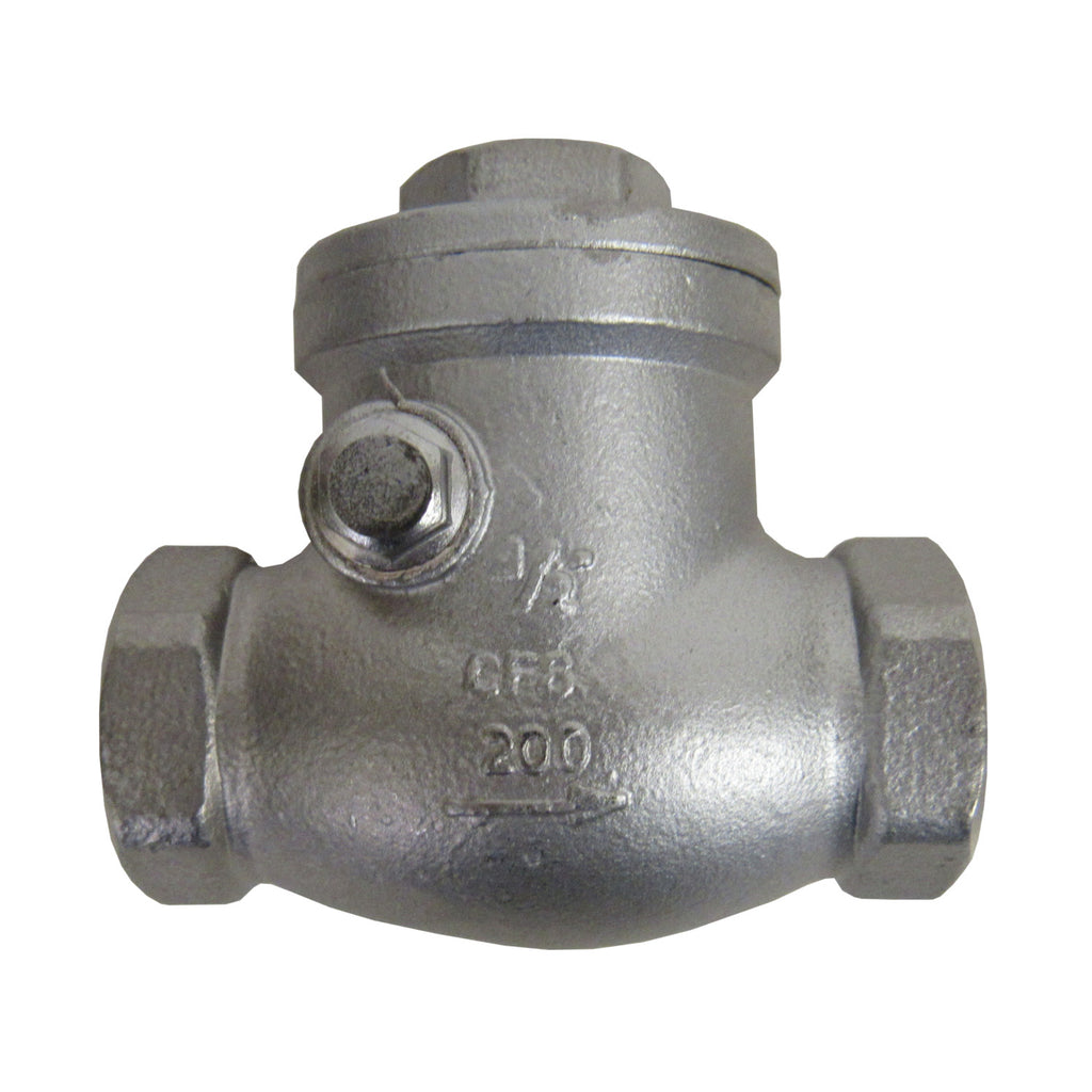Horizontal Swing Check Valve, 1/2 Inch NPT, 304 SS, 200 PSI
