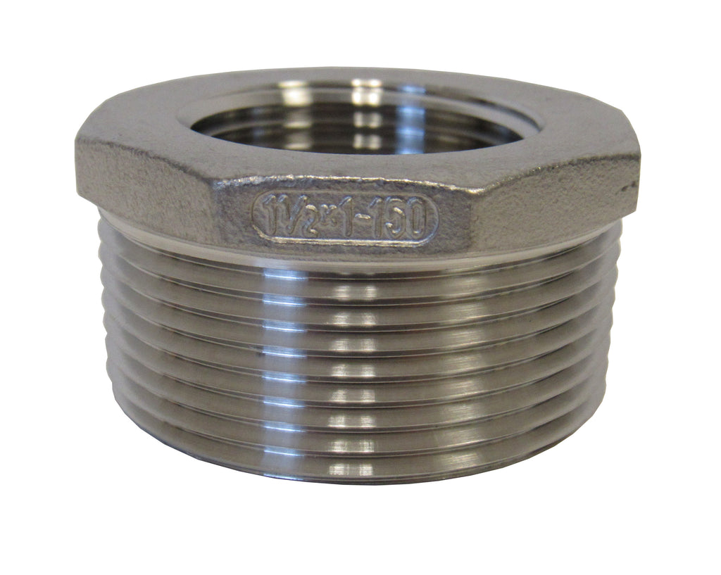 Stainless Steel Reducing Bushing, 304SS, Class 150 - 1-1/2 Inch X 1 Inch
