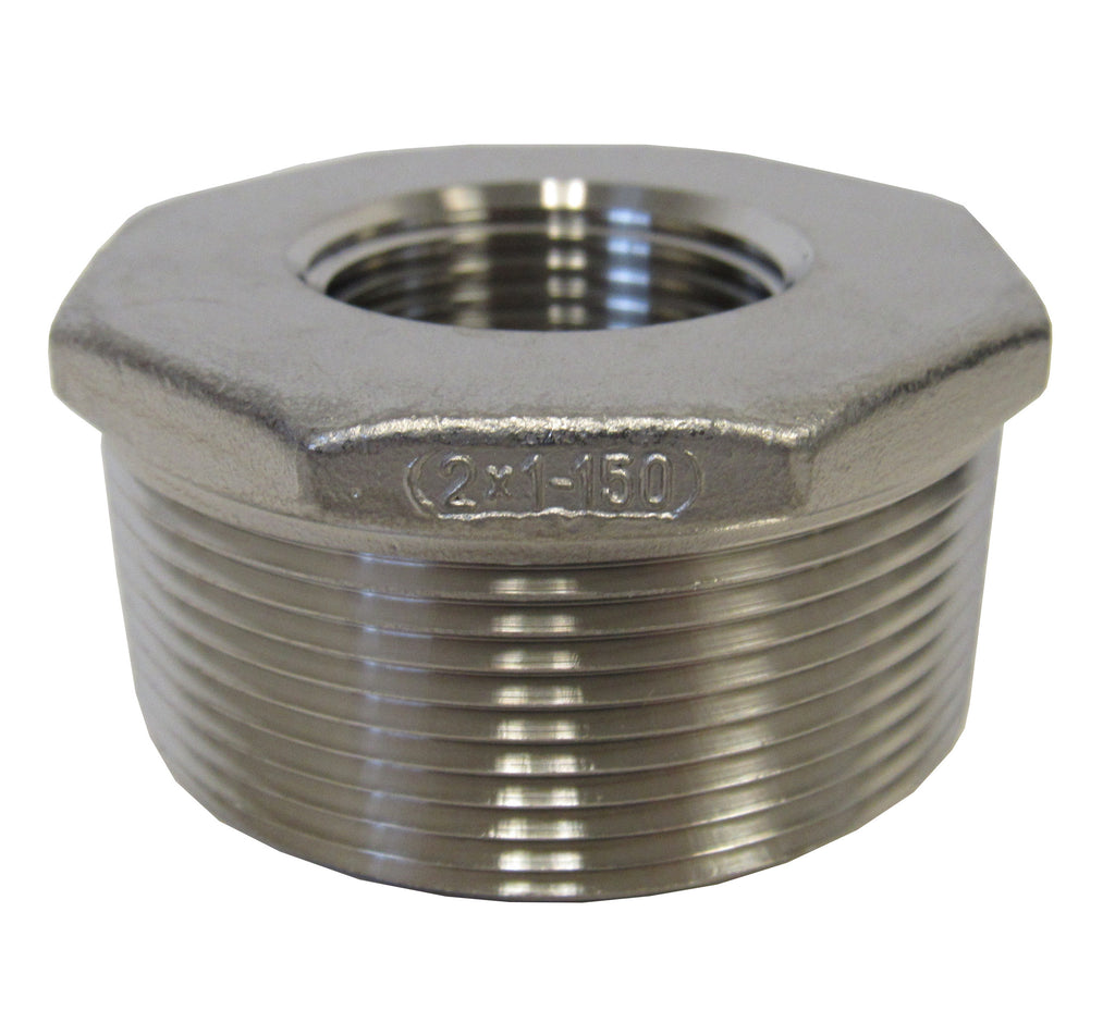 Stainless Steel Reducing Bushing, 304SS, Class 150 - 2 Inch X 1 Inch