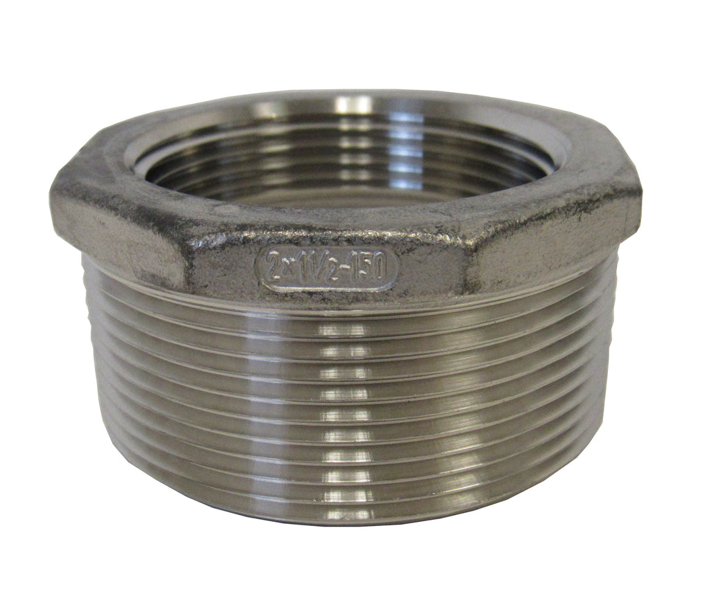 Stainless Steel Reducing Bushing, 304SS, Class 150 - 2 Inch X 1-1/2 Inch