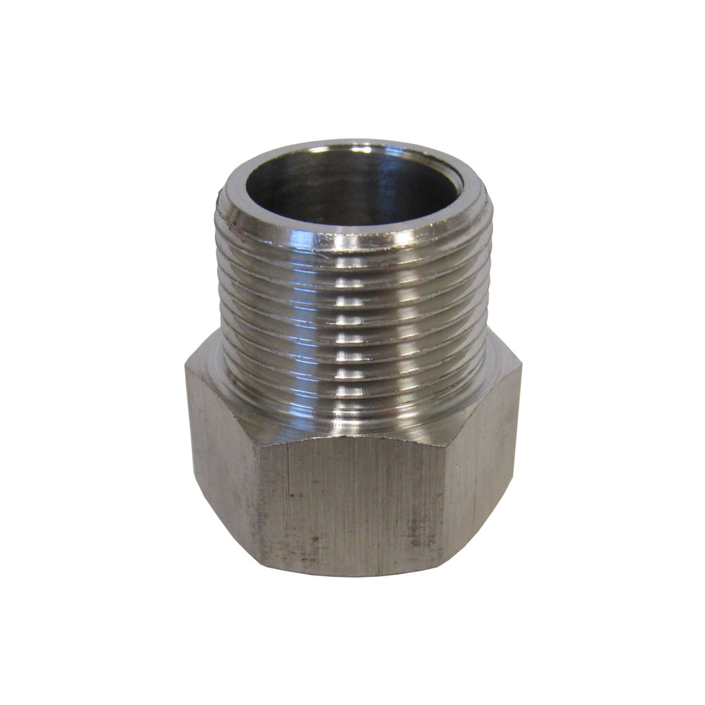 BSPP ADAPTERS - STAINLESS STEEL - 3/8 INCH FEMALE NPT  x  3/8 INCH BSPP MALE