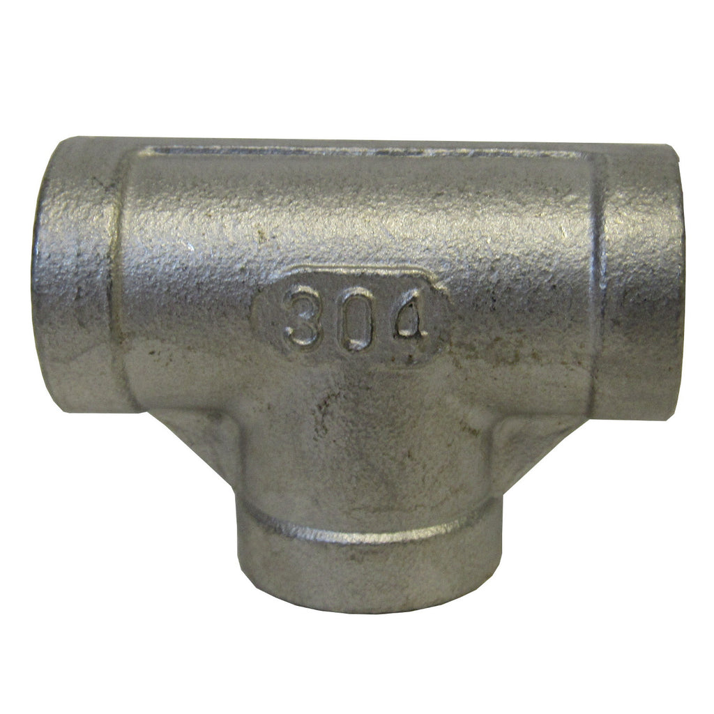 304 Stainless Steel Straight Tee, Class 150, 1/2 Inch NPT Thread