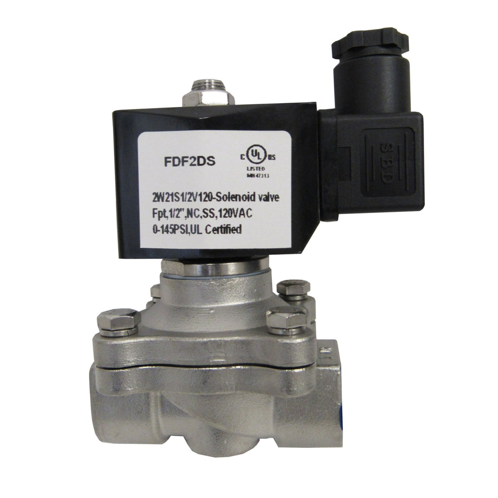 SOLENOID VALVE - 1/2 INCH NPT, 304 STAINLESS STEEL, 120 VAC COIL, VITON SEAL - SV0502W21DN15S304X