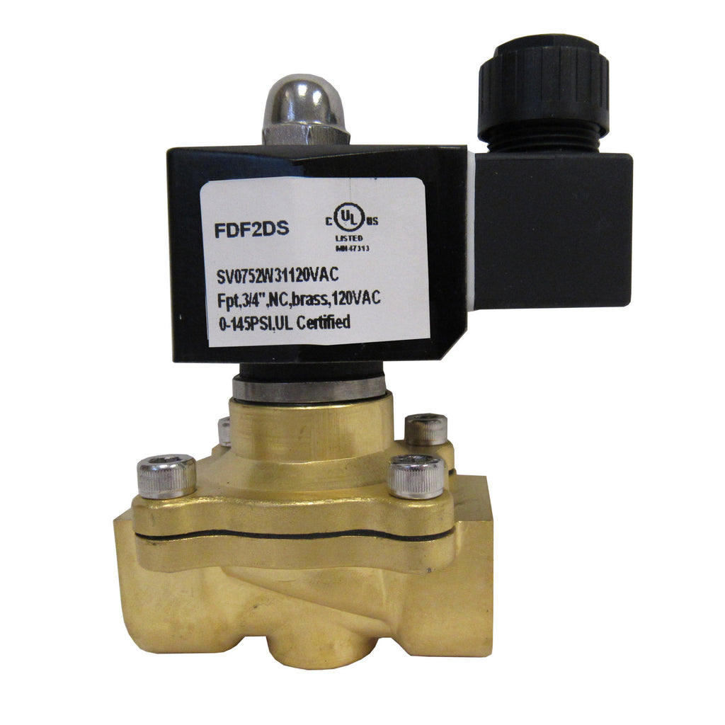 Solenoid Valve, 3/4 Inch NPT, Brass Body, 120 VAC Coil, EPDM Seal