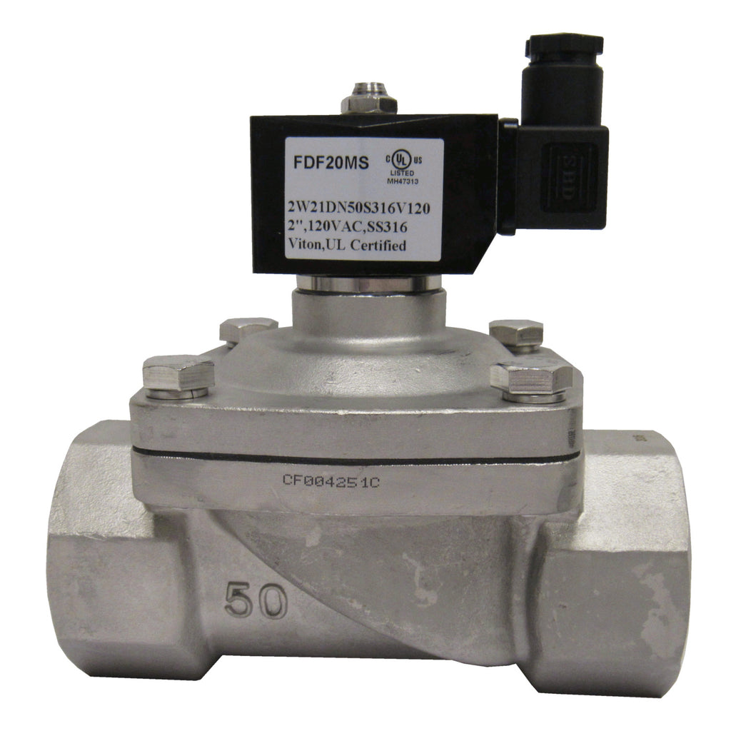 Solenoid Valve, 2 Inch NPT, 316 Stainless Steel, 120 VAC Coil, Viton Seal