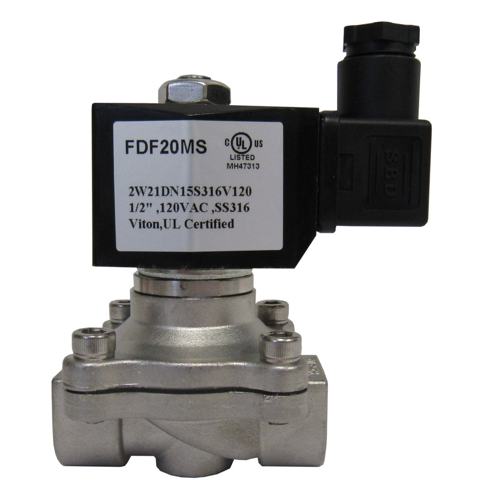 SOLENOID VALVE - 1/2 INCH NPT, 316 STAINLESS STEEL, 120 VAC COIL, VITON SEAL - SV0502W21DN15S316V120X
