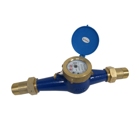 PRM MULTI-JET BRASS TOTALIZING WATER METER - 1-1/4 INCH
