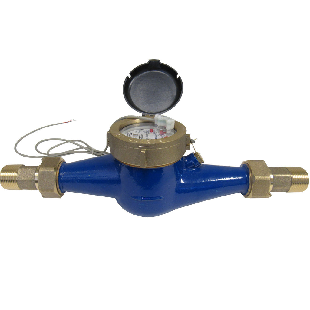 PRM 1 Inch Multi-Jet Brass Totalizing Water Meter with Pulse Output