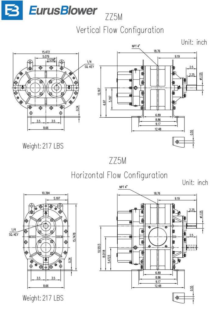 Eurus ZZ5M Positive Displacement Blower Vertical and Horizontal Flow Configuration Drawing