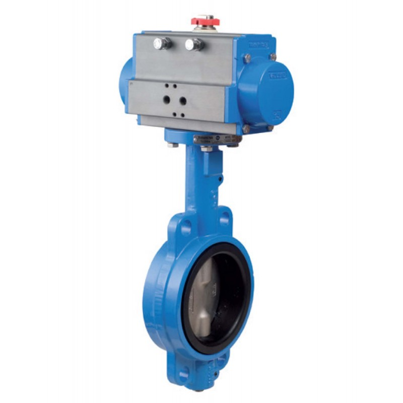 Bonomi DAN500N Wafer Style Epoxy Coated Cast Iron Butterfly Valve, Nylon Coated Disc, Double Acting Actuator