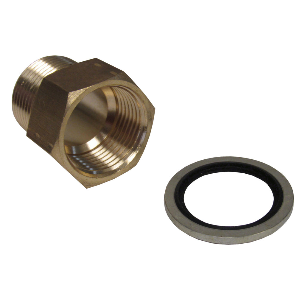Brass Adapter - 1 Inch NPT Male X 1 Inch BSPP Female with Sealing Washer