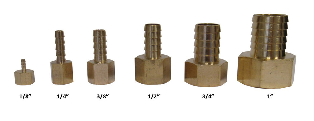 BRASS HOSE BARBS - STRAIGHT FITTING ADAPTERS, FEMALE NPT X HOSE BARB - 1 INCH