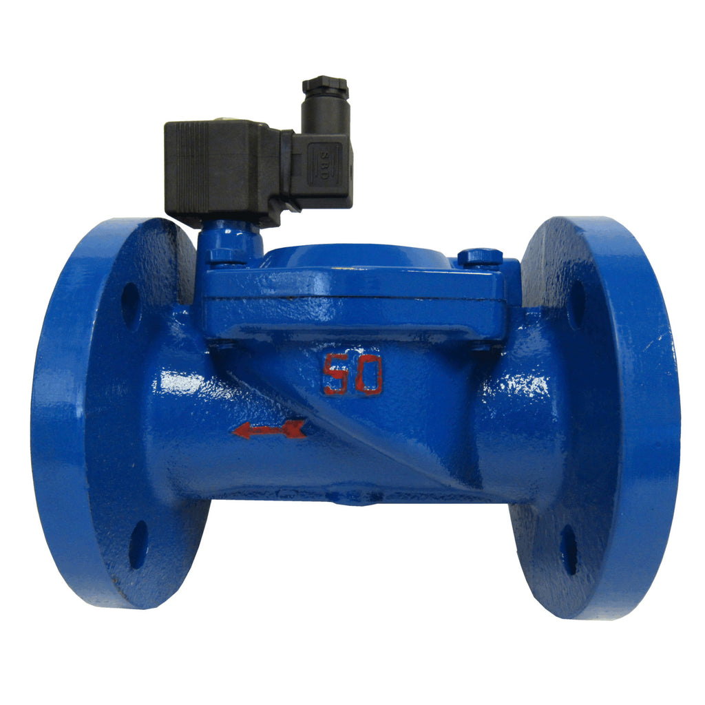 Solenoid Valves, Cast Iron, 24 VDC, Normally Closed, Flanged Connection with Viton Seals