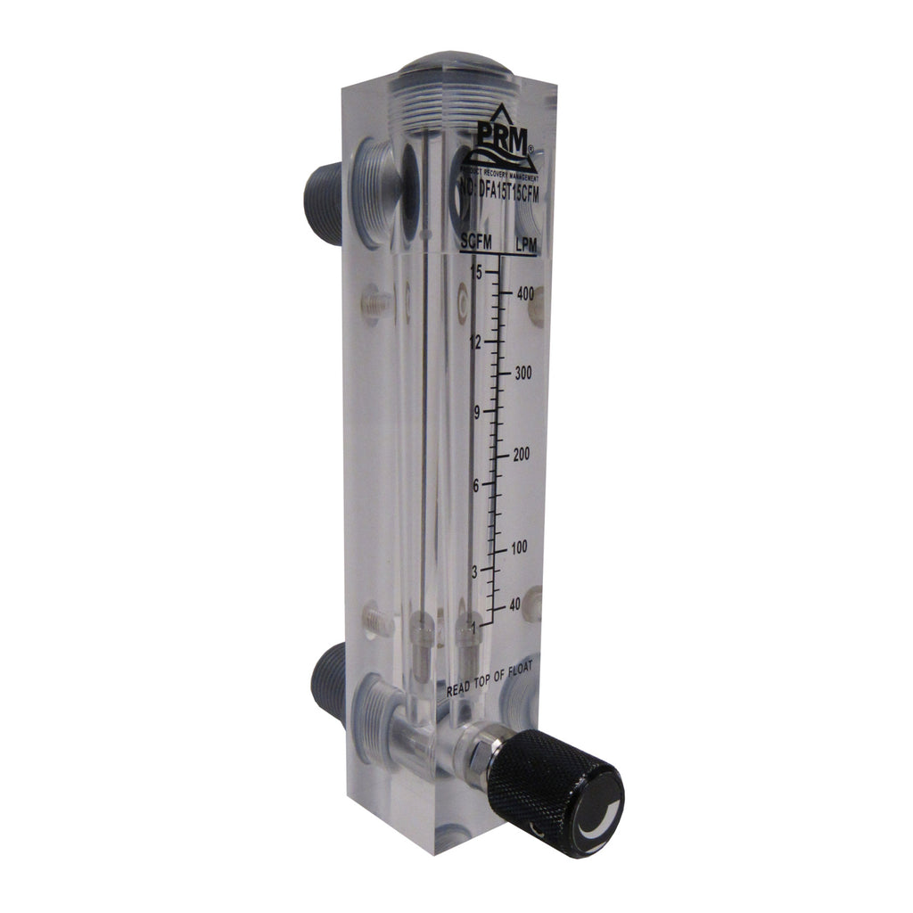 PRM FMDFA15T10 1-10 CFM Air Injection / Air Sparge Rotameter with Integrated Flow Valve
