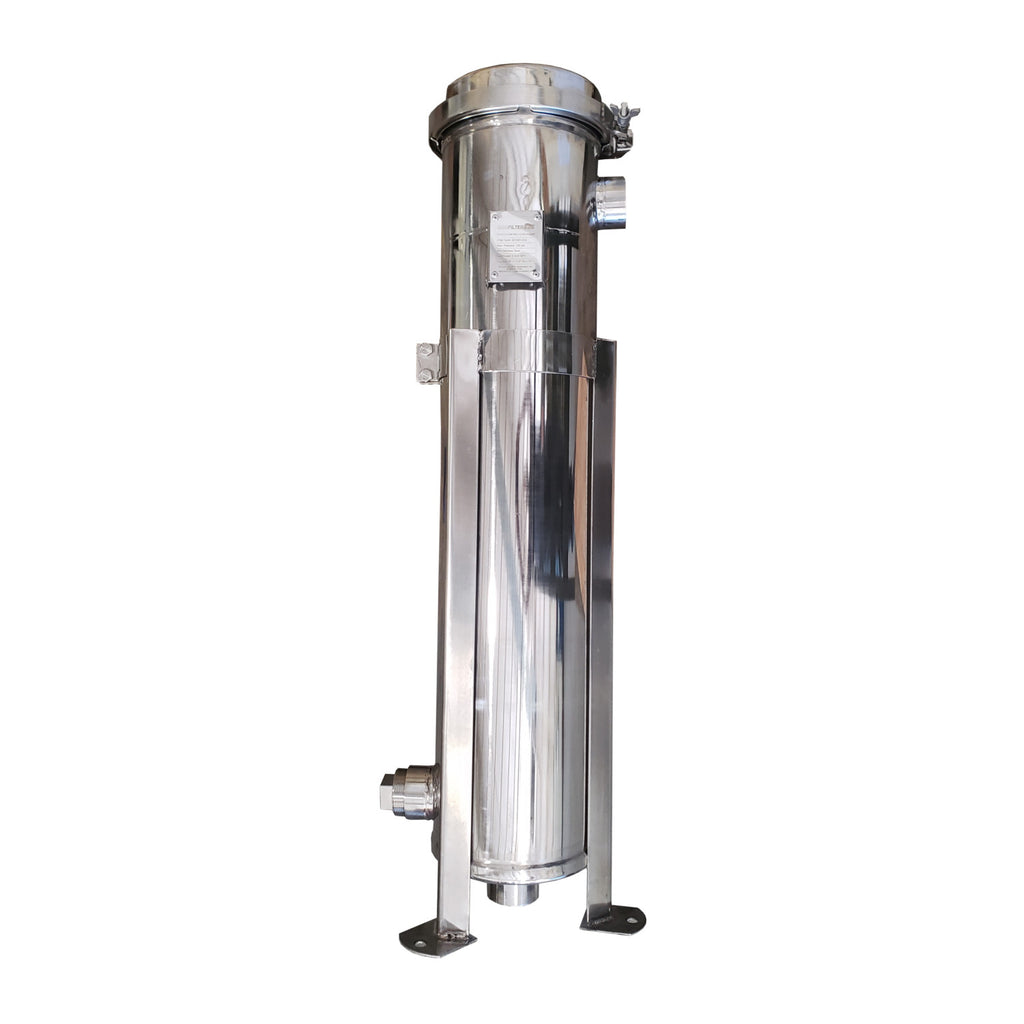 PRM #2 304 Stainless Steel Bag Filter Housing, 2 Inch NPT Inlet, Dual Side or Bottom 2 Inch NPT Outlet, 100 psi