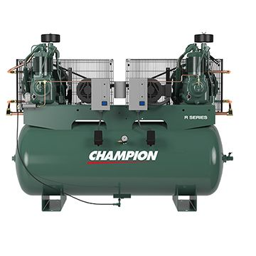 Champion Advantage Duplex 5 HP Piston/Two Stage Air Compressor with Horizontal 120 Gallon Air Tank, 208 Volt, 3-Phase