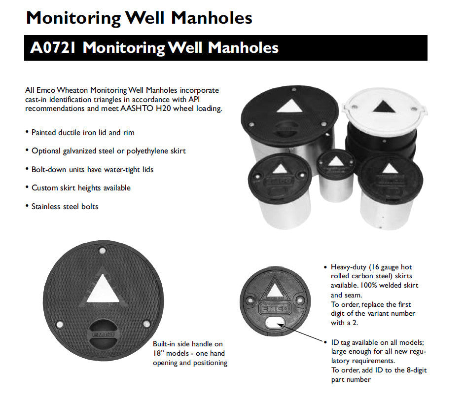 8 X 12 Inch Monitoring Well, Bolt Down Lid, Poly Skirt